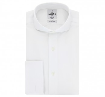 Chemise mousquetaire blanche col cutaway slim fit