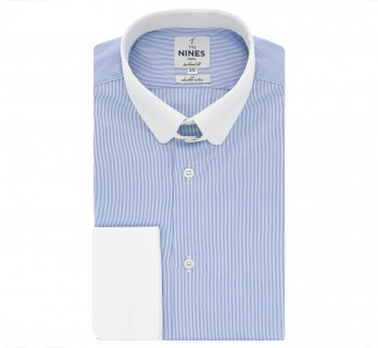 Chemise mousquetaire bleue rayures col anglais arrondi tailored fit
