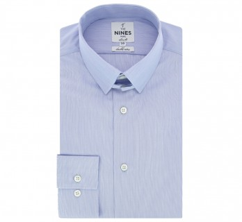 Chemise bleue fines rayures col anglais slim fit