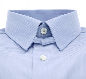 Chemise bleue fines rayures col anglais tailored fit