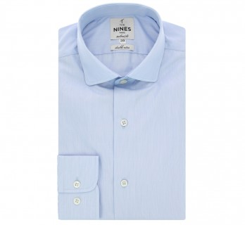 Chemise bleu ciel fines rayures col italien arrondi tailored fit