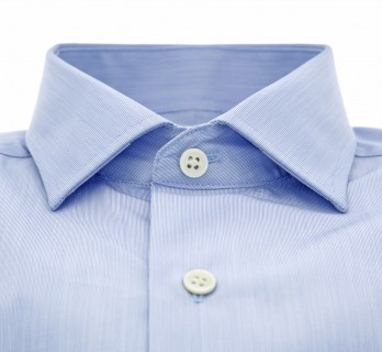 Chemise mousquetaire bleue fines rayures col italien tailored fit