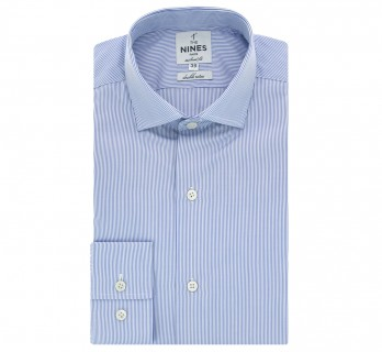Chemise bleue rayures col italien tailored fit