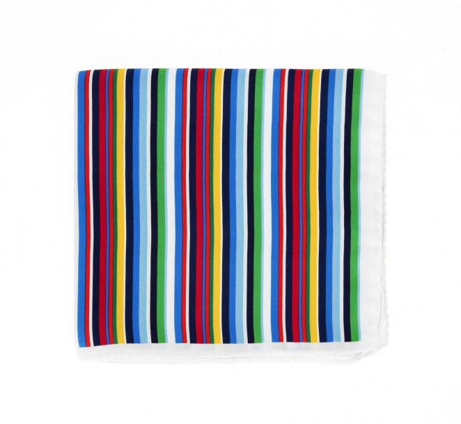 Pochette en soie rayures multicolores burano la - La maison de la cravate ...
