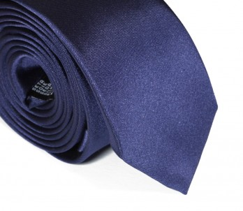 Cravate slim satin bleu nuit - Cortenova