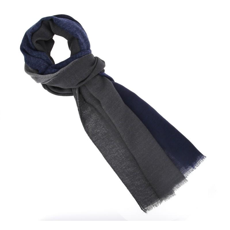 Echarpe breuer gris anthracite bordure bleu marine en laine for Bordure de jardin gris anthracite