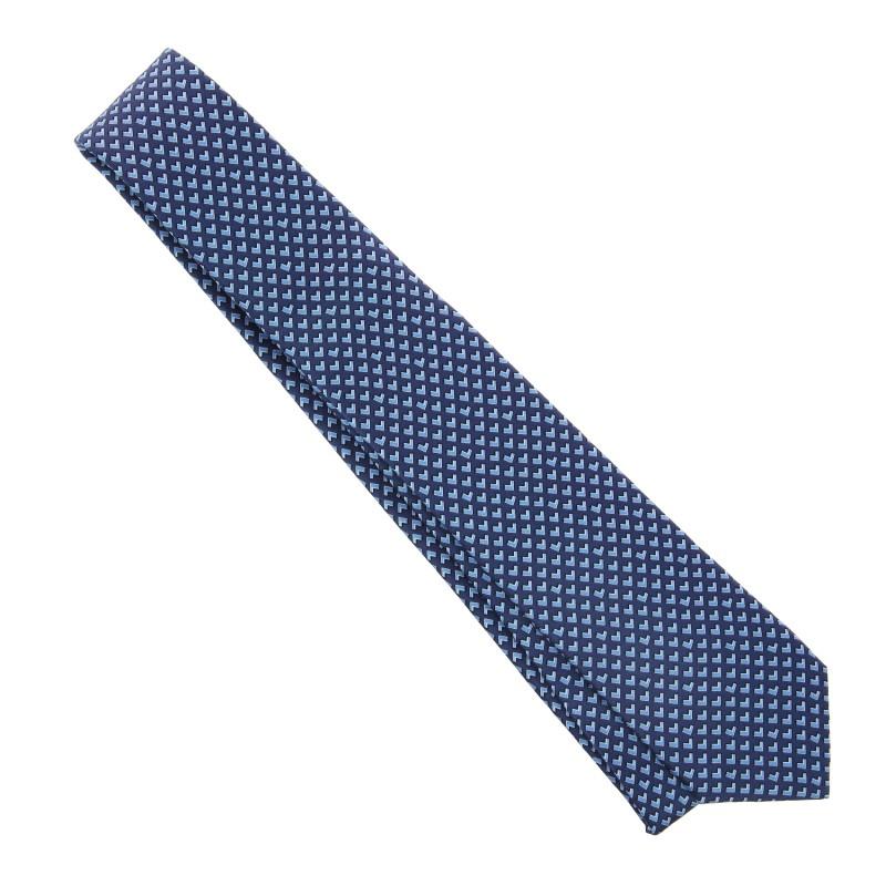 Cravate Lanvin Bleu Marine Motif Bleu Ciel Maison De