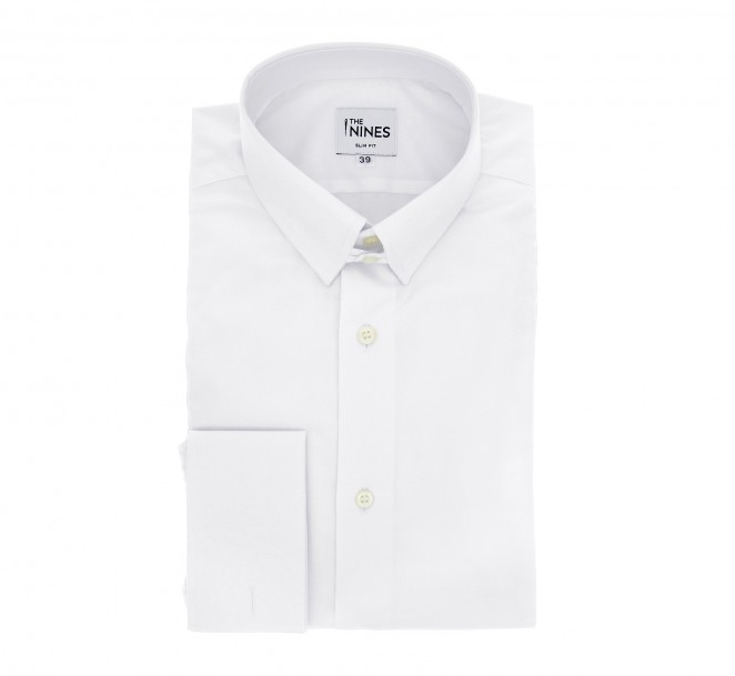Chemise mousquetaire popeline blanche col anglais slim fit