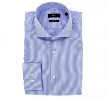 Chemise Hugo Boss bleue à rayures col cutaway poignets simples slim fit
