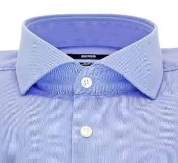 Chemise Hugo Boss bleue à fines rayures col cutaway poignets simples slim fit