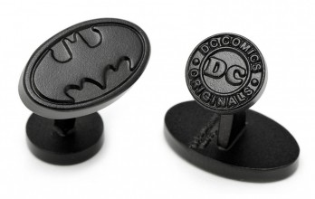 Boutons de manchette Batman : Satin Black Batman Logo