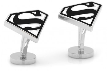 Boutons de manchette Superman : Enamel Black and White Superman Shield