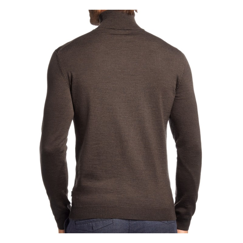 Pull col roulé Hugo Boss marron en laine mérinos - Maison de La Chemise d299a2ea74e1