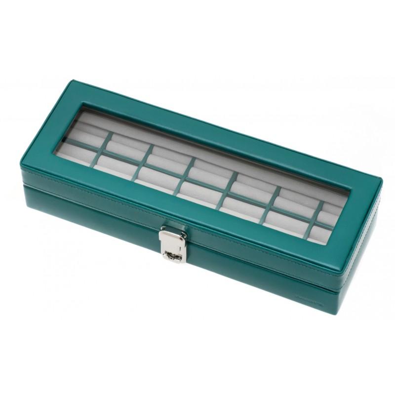 Coffret vitrine cuir vert