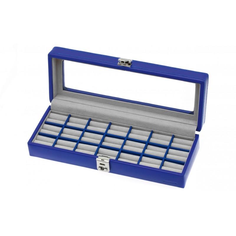 Coffret vitrine cuir bleu électrique