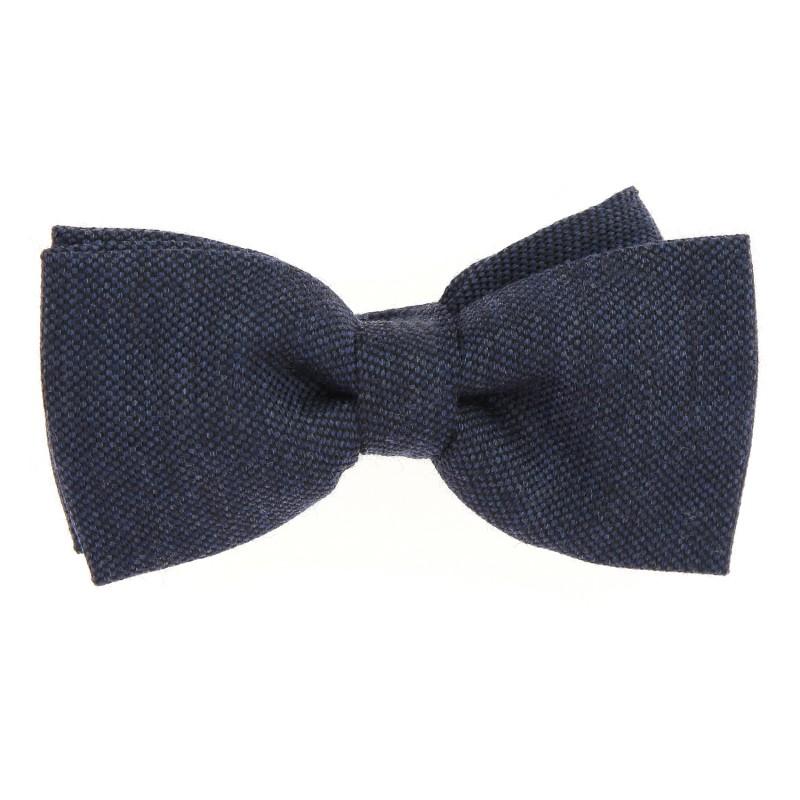 d43a278f8196e Noeud papillon en laine et soie nattée bleu marine- Brisbane II ...