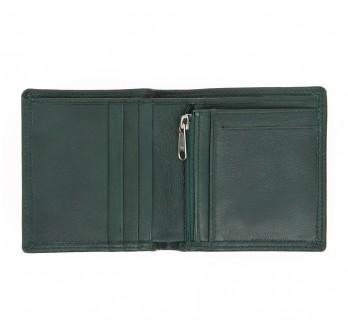 Portefeuille en cuir vert format compact - FCO