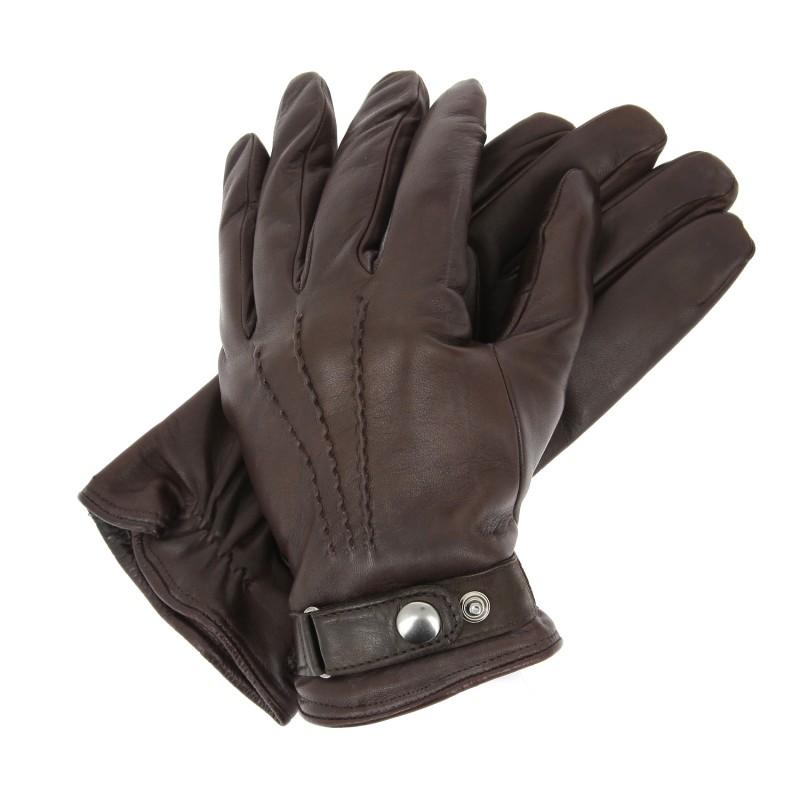 gants marron homme en cuir pression gant cuir. Black Bedroom Furniture Sets. Home Design Ideas