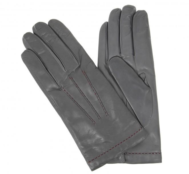 gants gris couture rouge en cuir gant cuir maroquinerie homme. Black Bedroom Furniture Sets. Home Design Ideas