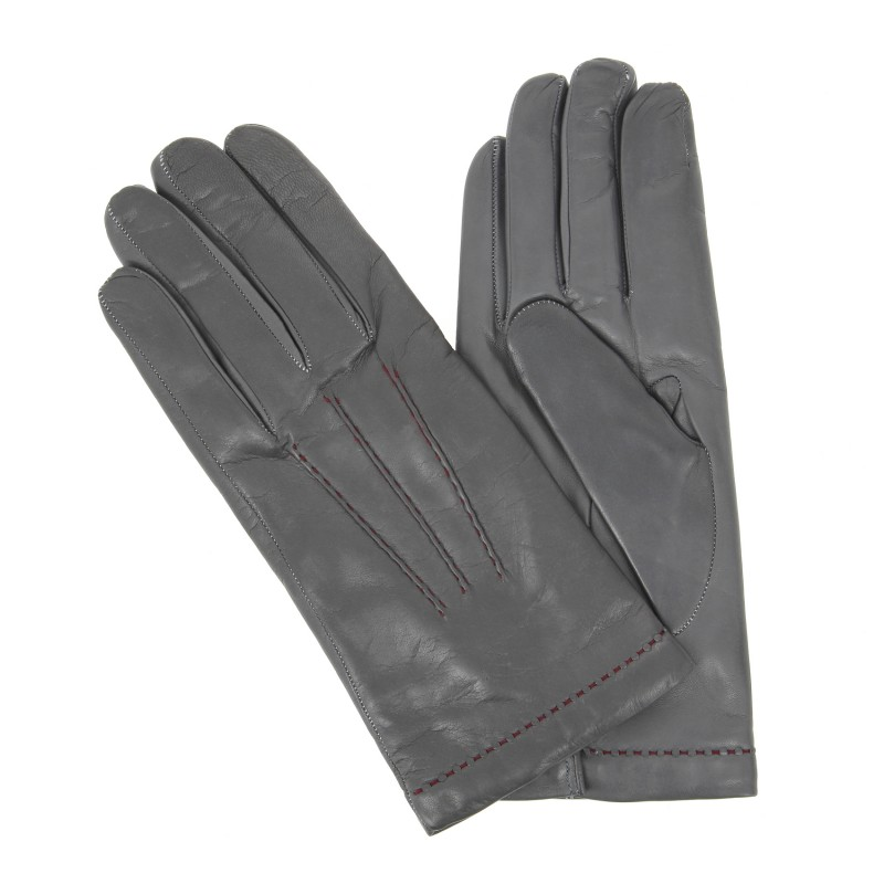gants gris couture rouge en cuir gant cuir. Black Bedroom Furniture Sets. Home Design Ideas