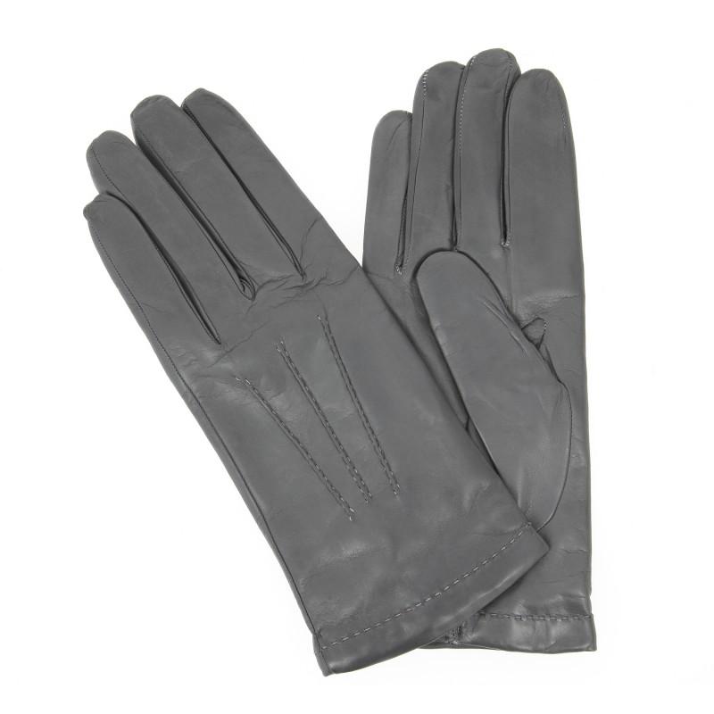 gants gris en cuir gant cuir maroquinerie homme. Black Bedroom Furniture Sets. Home Design Ideas
