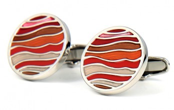Boutons de manchette ronds orange - Burano