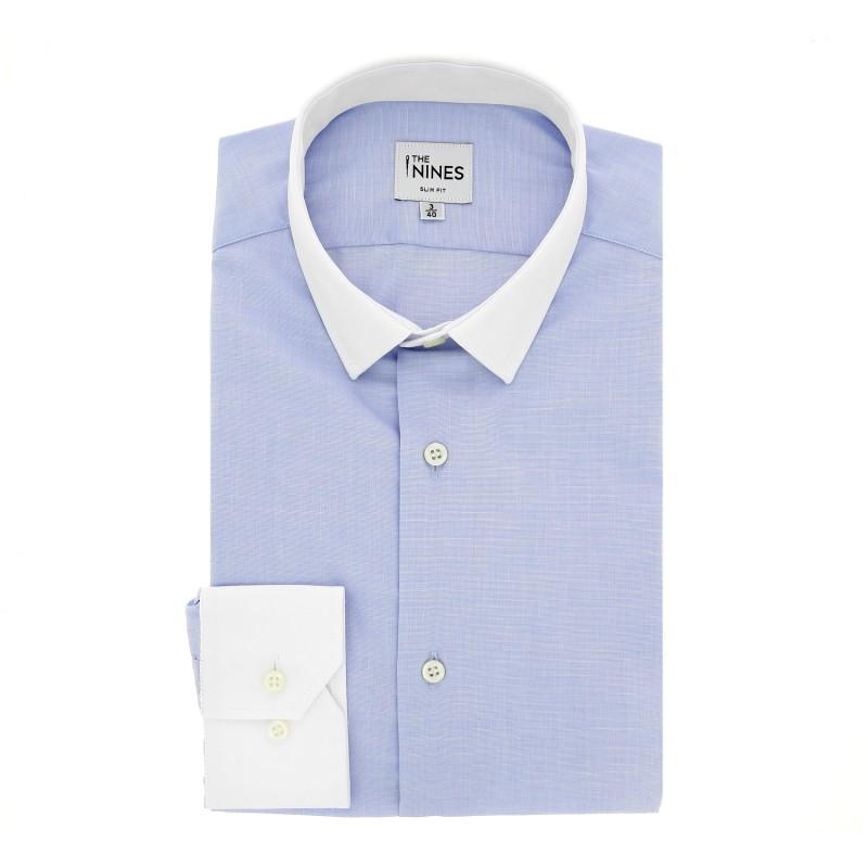 chemise homme petit col chemise homme selected petit col bleu marine a motifs gris et blancs chemise. Black Bedroom Furniture Sets. Home Design Ideas