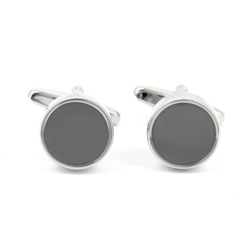 Boutons de manchette ronds gris anthracite - Montreux II