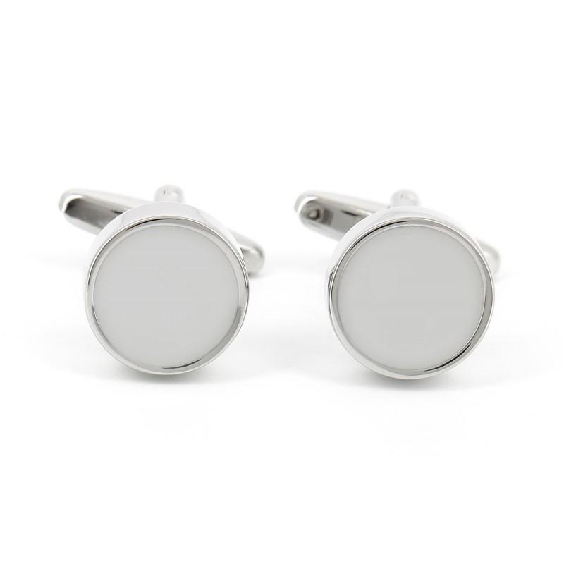 Boutons de manchette ronds gris perle - Montreux II