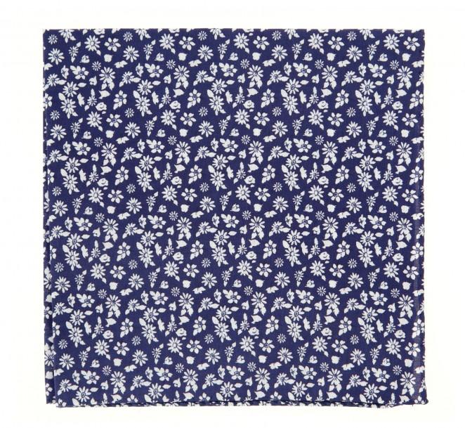 Pochette hackett bleu marine motif floral la maison de - La maison de la cravate ...