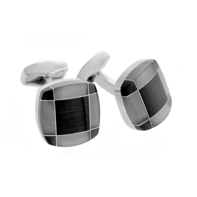 Boutons de manchette Tateossian - Tartan Fusion Black