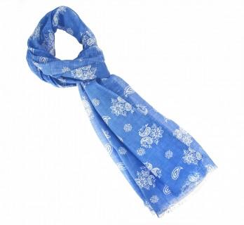Echarpe bleue et blanche motif cachemire en coton et lin - The Nines