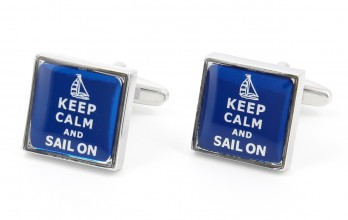 Boutons de manchette Keep Calm and Sail On