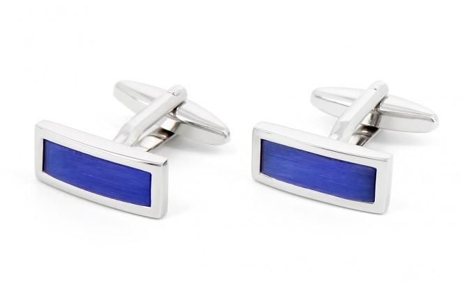 Boutons de manchette rectangulaires bleus - Stureplan
