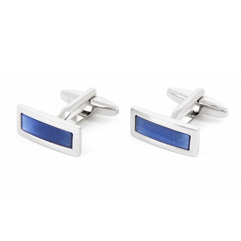 Boutons de manchette rectangulaires bleu marine - Stureplan
