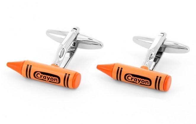 Boutons de manchette crayon orange