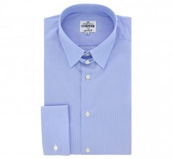 Chemise mousquetaire bleue à rayures col anglais coupe regular