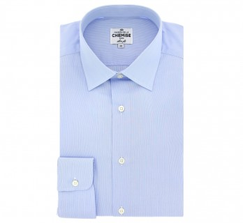 Chemise à rayures bleues et blanches col italien slim fit
