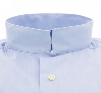 Chemise popeline bleu ciel col inversé slim fit
