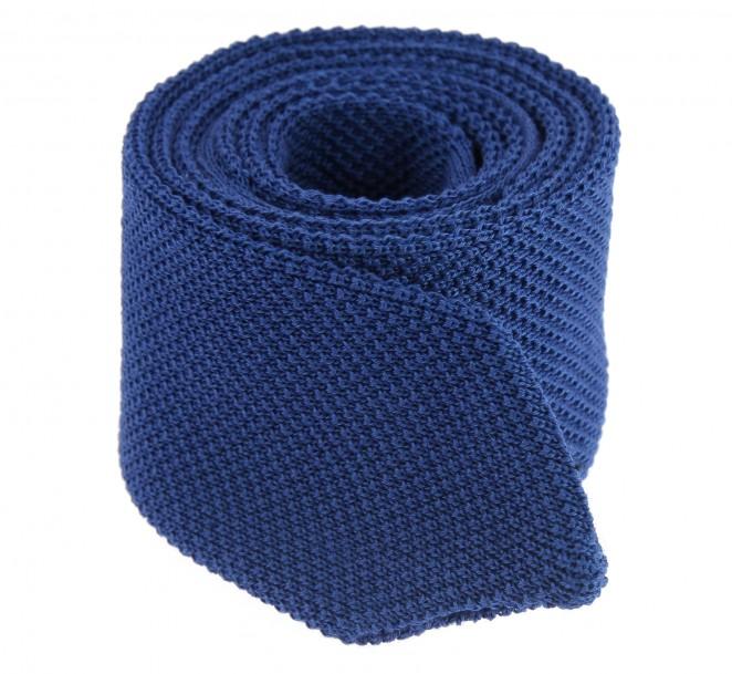 Cravate en tricot de coton bleu la maison de la cravate - La maison de la cravate ...