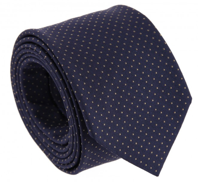 Cravate bleu marine the nines pois marron la maison de - La maison de la cravate ...