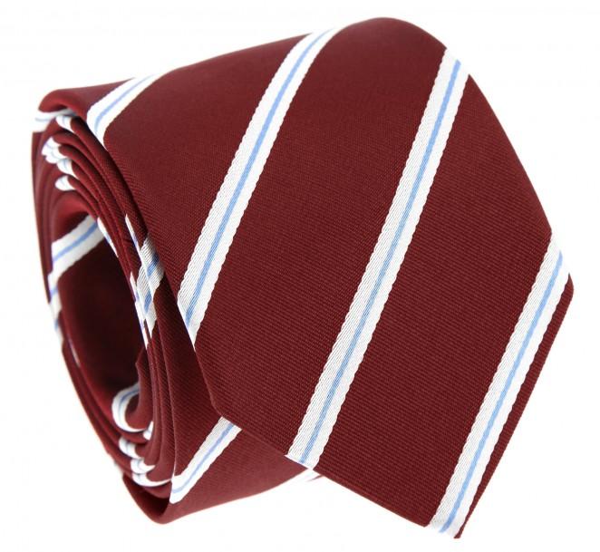 Cravate bordeaux rayures bleu ciel et blanches devon - La maison de la cravate ...