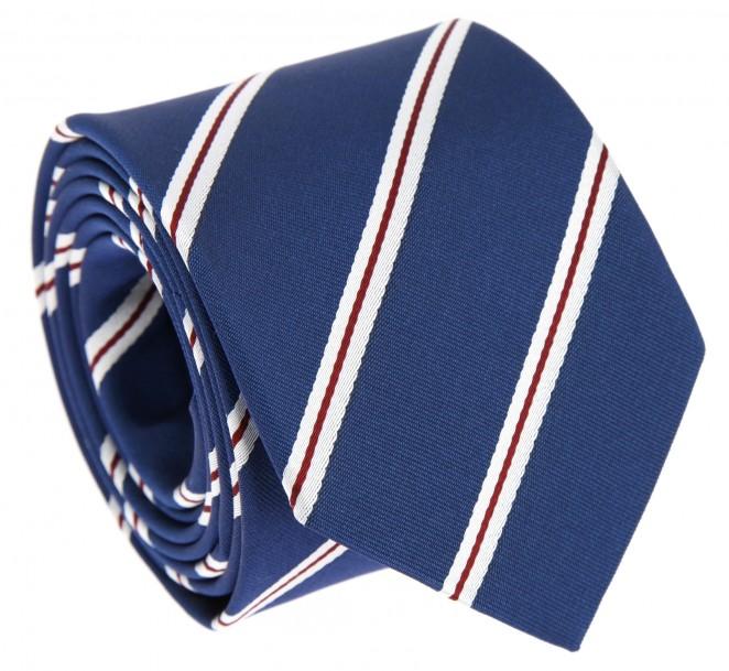 Cravate bleue rayures rouges et blanches devon la - La maison de la cravate ...