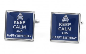 Boutons de manchette Keep Calm and Happy Birthday