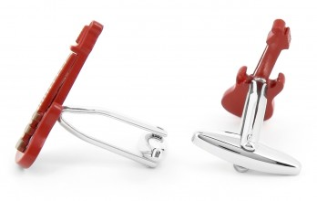 Boutons de manchette guitare rouge - rouge Gibson City II