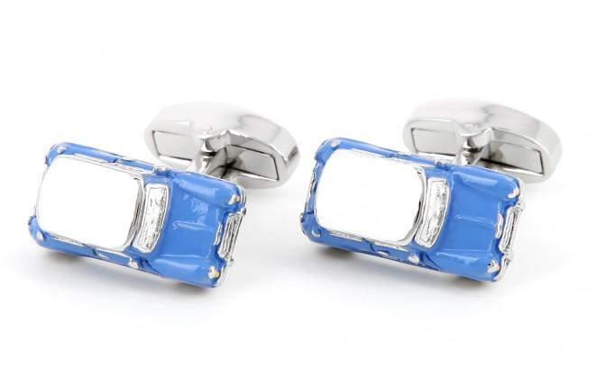 """Boutons de manchette voiture - Mini Cooper bleue série limitée """"Made in England"""""""