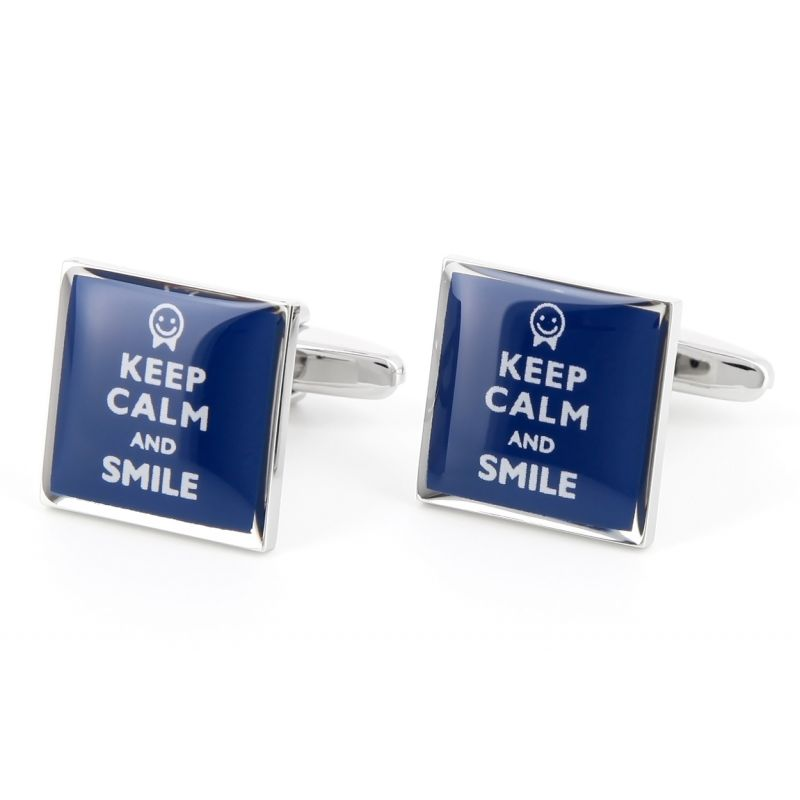 Boutons de manchette Keep Calm and Smile
