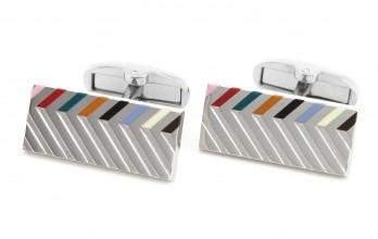 Boutons de manchette Paul Smith - Motif chevron et rayures