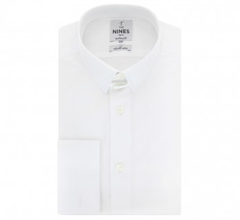 Chemise mousquetaire blanche col anglais coupe slim