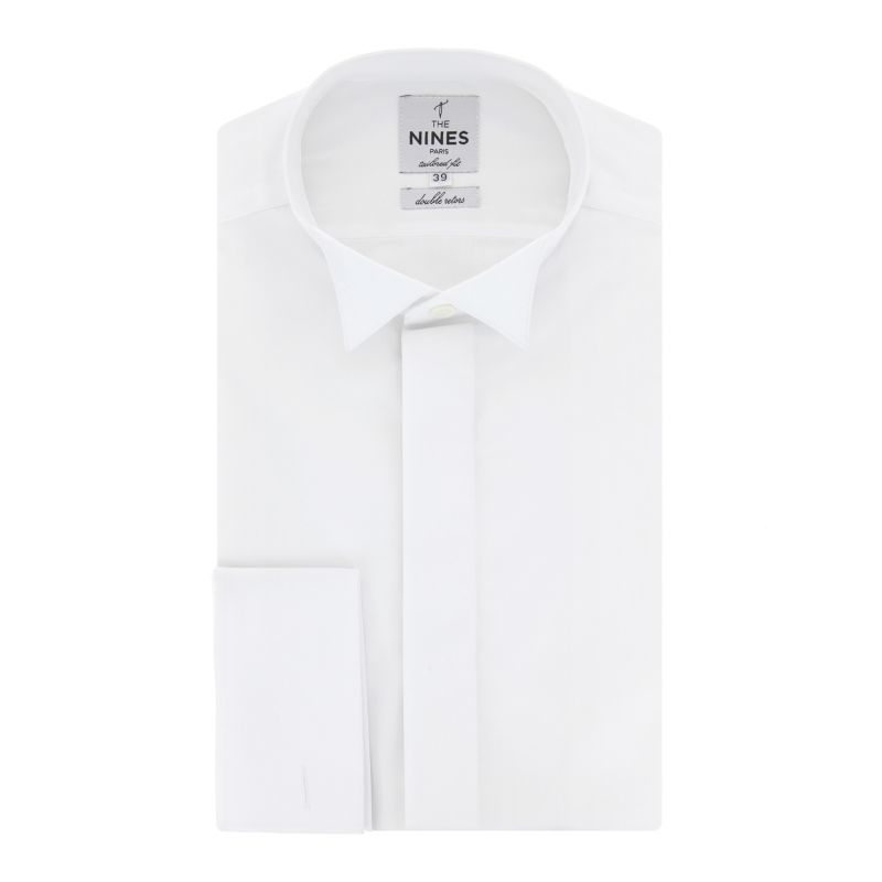 Chemise mousquetaire blanche col casse noeud papillon a gorge cachee tailored fit